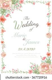 Flower wedding invitation card, save the date card, greeting card, valentine card