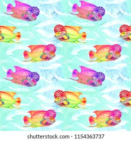 Flowerhorn cichlid fish (Elvis strain), hand painted watercolor illustration, seamless pattern on turquoise ocean surface with waves background