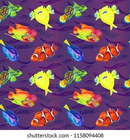 Flowerhorn cichlid fish, Pufferfish, Clownfish, Mandarin fish, Paracanthurus hepatus, hand painted watercolor illustration, seamless pattern on purple ocean surface with waves background