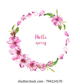 "Flowering cherry tree, sakura blossom, pink flowers petals. Floral wreath with text ""Hello spring"". Watercolor round border"