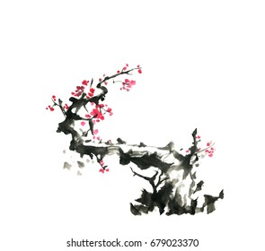 Flowering plum, traditional oriental art, ink, free brush.