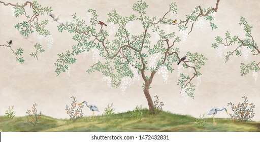 Flowering tree in the Japanese garden with birds. Fresco, Wallpaper for interior printing.