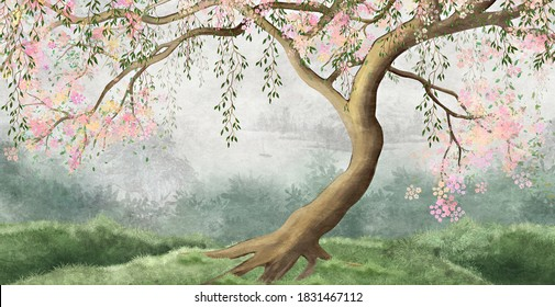 Flowering tree with willow branches. For interior printing, mural art.