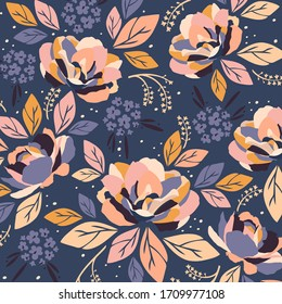 Flowerish Pink and Floral on blue.