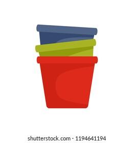 Flowerpots icon. Flat illustration of flowerpots icon for web design
