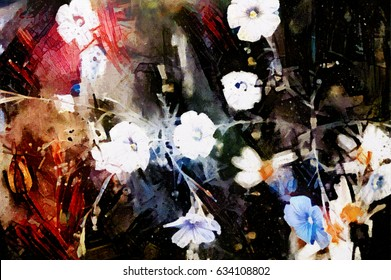 Flowers in abstract form. Designed in a modern grunge abstract style. Oil on canvas with elements of pastels and pen.