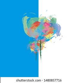 flowers abstrak art brush painting colorful
