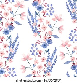 Flowers and berries summer floral seamless pattern for dress fabric print. Watercolor organic natural design. Berries and meadow flowers seamless hand painted herbal wallpaper. Botanical design.