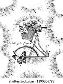 Flowers in bicycle's basket with around butterfly on black patterned background. JPEG format.