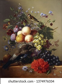 Flowers and bird . Still life. In the style of the ancient Dutch masters. Mozharov Pavel . Painting oil canvas 2019.