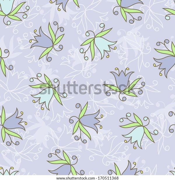 Flowers. Blue floral seamless pattern.
