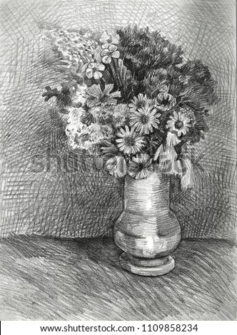 Flowers Blue Vase Drawing Work Art Stock Illustration 1109858234