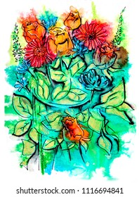 flowers bouquet, watercolor and ink illustration