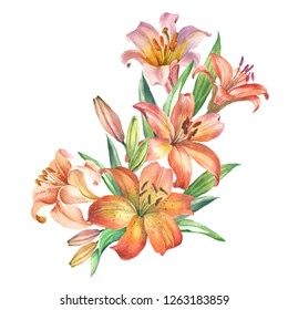 flowers bouquet with watercolor lily
