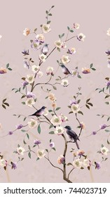 Flowers carry the scent of spring, the leaves and flowers art design