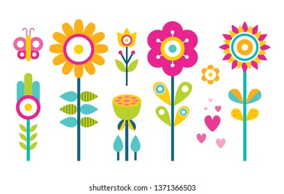 Flowers collection in flat style design butterfly and hearts abstract blooming buds raster springtime decor elements cartoon bee ornamental plants