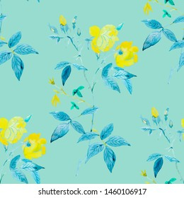 Flowers colorful watercolor illustration pattern