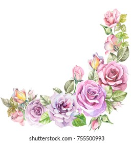 flowers corner with watercolor rose
