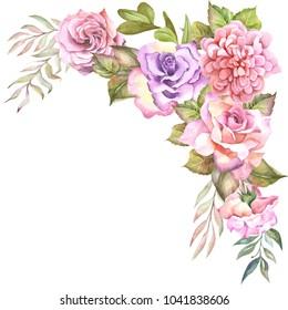 flowers corner with watercolor roses
