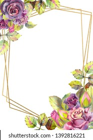 Flowers of dark roses, green leaves, composition.Vertical orientation of the frame . The concept of the wedding flowers. Flower poster, invitation. Watercolor compositions for the design of greeting