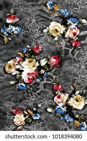 Flowers design composition of animal skins pattern ground.