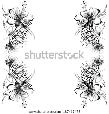 flowers drawing simple pencil coal on stock illustration 187419473