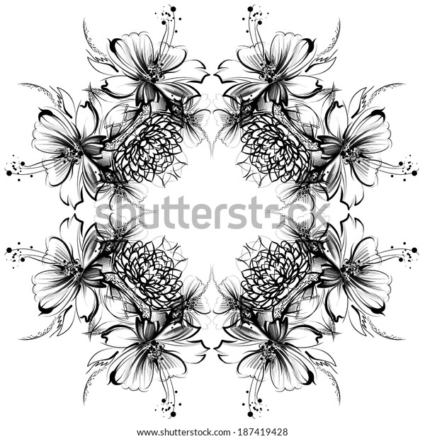 Flowers Drawing Simple Pencil Coal On Stock Illustration 187419428