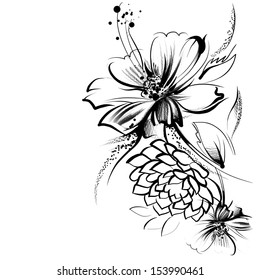 Flowers, drawn in ink on old paper. Children's drawing a pencil in graphics technology. Roses and daisies. Vintage elegant style. The thin smooth lines. Template for greeting card. Black and white