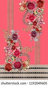Flowers embroidery pink