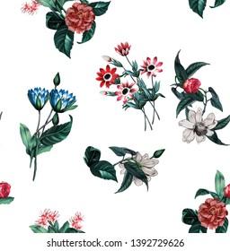 flowers fashion fabric pattern design