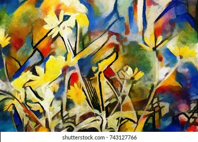 The flowers of the field. Abstraction in modern style with the nature of painting Kandinsky. Executed in oil on canvas with elements of pastel and acrylic painting