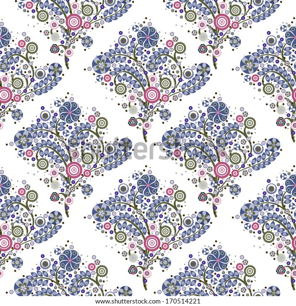 flowers floral seamless pattern in blue with white background