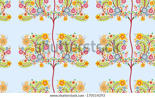 flowers, floral seamless pattern, colorful on blue