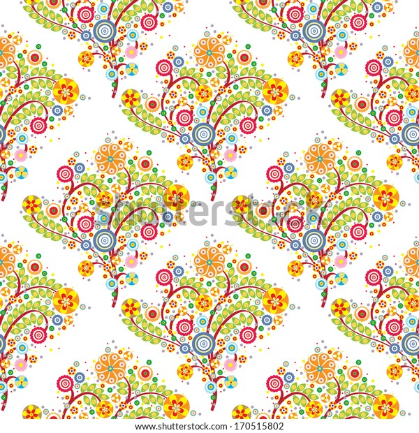 flowers floral seamless pattern with white background