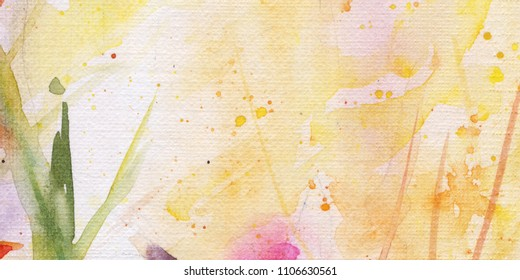 Flowers in the flowerbed. sunlight. leaves. watercolor. background.