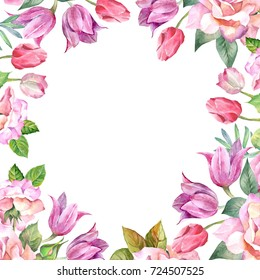 flowers frame.watercolor