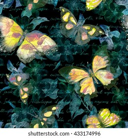 Flowers, glowing butterflies and hand written text note at black background. Watercolor. Seamless pattern