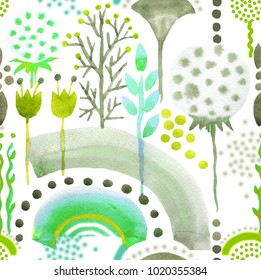 flowers and grass watercolor absract on white background seamless pattern for fabrics, paper