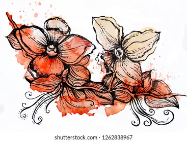 Flowers hand painted, watercolor and graphic design
