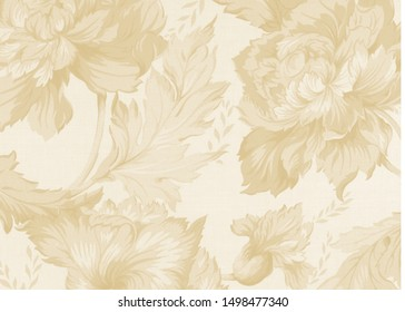 Flowers Illustrator With Wooden Color