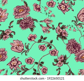 Flowers and leaves ethnic pattern seamless vintage fabric texture repeated. Floral tulip, lily, chrysanthemum antique elements with leaves and branches on mint color background.