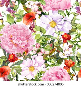 Flowers, leaves, grass. Seamless floral pattern in ditsy style for fashion design. Watercolor