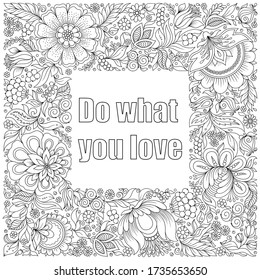 Flowers and leaves hand drawn zentangle style frame. Doodle art decorative border.
