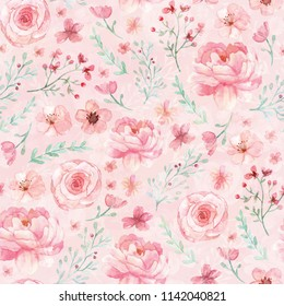Flowers and leaves wallpaper pattern on pink background