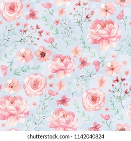 Flowers and leaves wallpaper pattern on blue background
