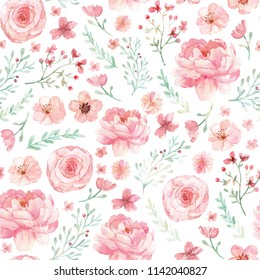 Flowers and leaves wallpaper pattern on white background