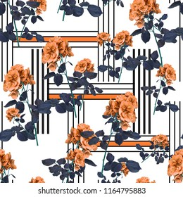 Flowers and lines fashion fabric pattern