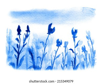 flowers meadow, watercolor painting in blue color