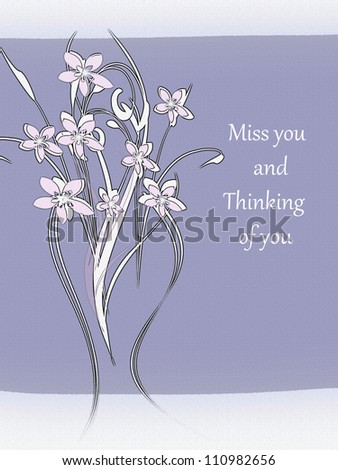 Flowers Miss You Thinking You Stock Illustration Royalty Free