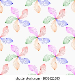 Flowers from multi-colored contours on a white background. Floral seamless background. Abstract flowers. Simple multi-colored flowers for packaging, fabric, bedding, drawing on dishes.